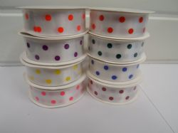 25mm  Polka Dot Satin ribbon, 5 metre Roll spotty White with coloured spots